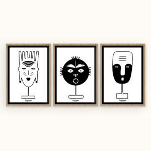 affiches-decoratives-trilogie-masque-tribal-shokoon-lafficheuse